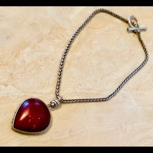 Lucky Brand silver chain red pendant.